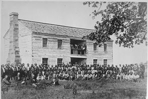 Delegates from 34 tribes in front of Creek Council House, Indian Territory, 1880